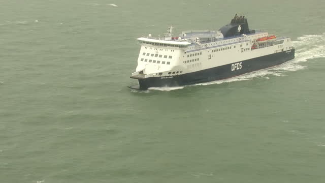 Aerial shots of a DFDS ferry 'Cote Des Dunes' leaving Dover sailing in the English Channel on March 29 2017 in Dover England