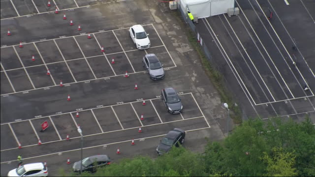 aerial shots of a drive through coronavirus testing centre at gatwick airport on 1st may 2020 in london united kingdom - test drive stock videos & royalty-free footage
