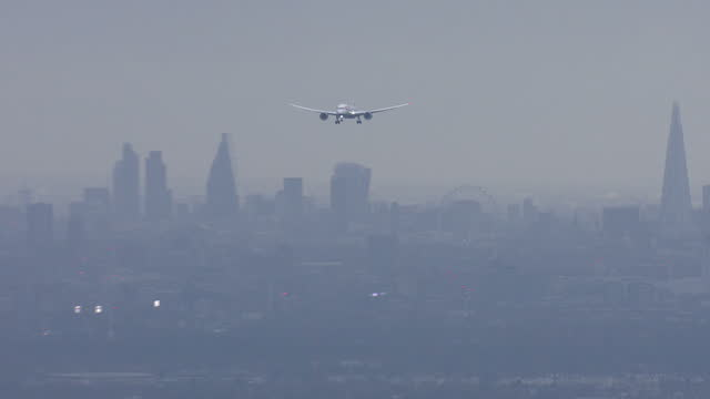 Aerial shots of a plane flying towards London Heathrow Airport with London skyline in the background at Heathrow Airport on December 10 2015 in...
