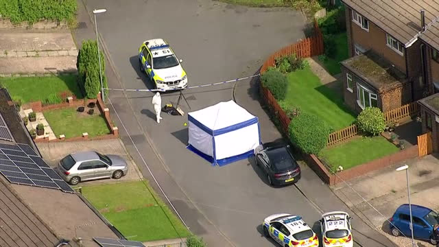 aerial shots of a police tent cordon in the street of risedale avenue where attacker thomas mair was captured by police after he attacked jo cox mp... - thomas mair stock videos and b-roll footage