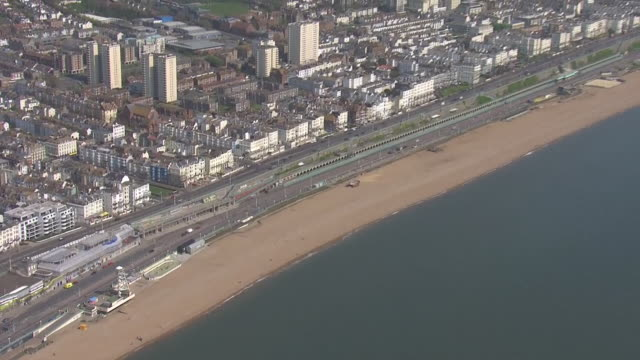 aerial shots of an empty brighton beach over the bank holiday weekend as the public adhere to lockdown rules on 11 april 2020 in brighton england - viewpoint stock videos & royalty-free footage