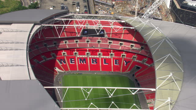 Aerial shots of an empty Wembley Stadium Shot in Summer Wembley Stadium Aerials on July 12 2012 in London England