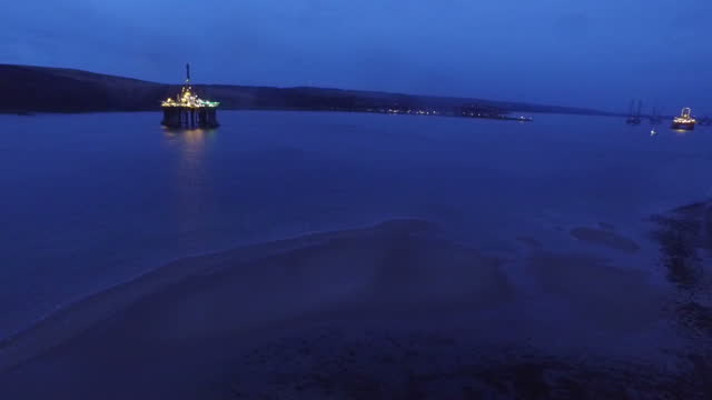 aerial shots of an oiil rig in the north sea, off the coast of inverness on january 26, 2016 in scotland. - inverness scotland stock videos & royalty-free footage