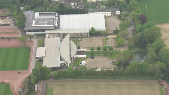 aerial shots of arsenal football club training ground and ucl sports ground in st albans on 27 april 2020 in st albans, united kingdom - torschuss stock-videos und b-roll-filmmaterial
