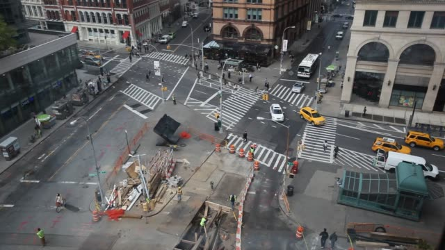 aerial shots of astor place in new york ny from the ibm watson group headquarters - base stock videos & royalty-free footage