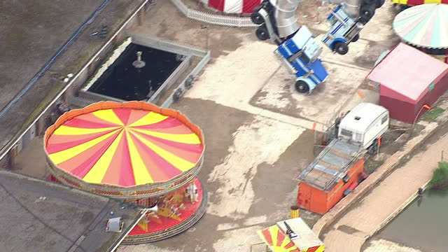 aerial shots of banksy's dismaland amusement park on august 20 2015 in westonsupermare england - weston super mare stock videos and b-roll footage