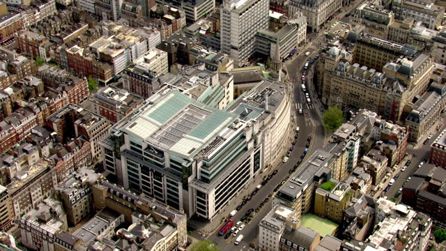 aerial shots of bbc broadcasting house on may 9, 2016 in london, england. - broadcasting stock videos & royalty-free footage