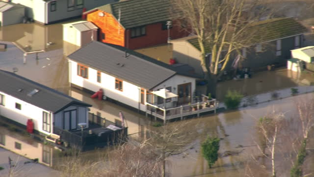 aerial shots of billing aquadrome leisure park in great billing flooded on 25th december 2020 in great billing, northampton, united kingdom. - northampton england stock videos & royalty-free footage