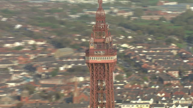 aerial shots of blackpool pier and blackpool tower on october 11 2010 in blackpool lancashire england - blackpool stock-videos und b-roll-filmmaterial