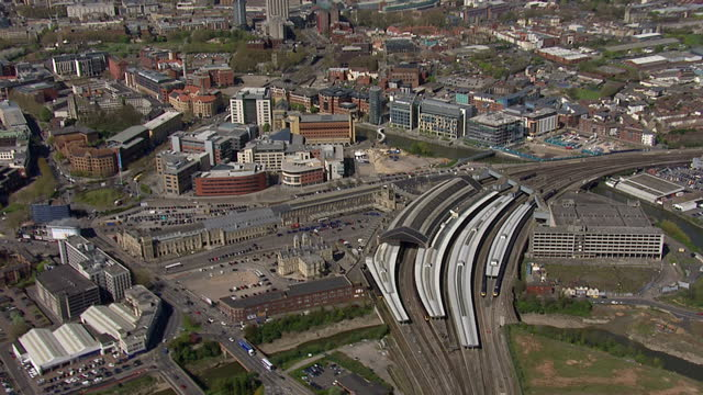 aerial shots of bristol cathedral and bristol temple meads train station in the city centre on april 15 2014 in bristol england - bristol england stock videos & royalty-free footage