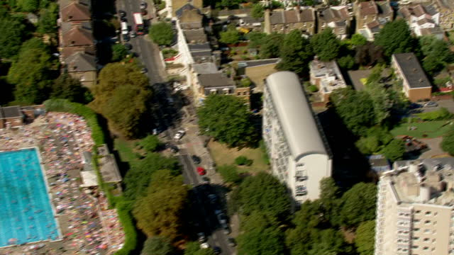 aerial shots of brockwell lido and residential housing in herne hill on september 13 2016 in london england - herne hill stock videos & royalty-free footage