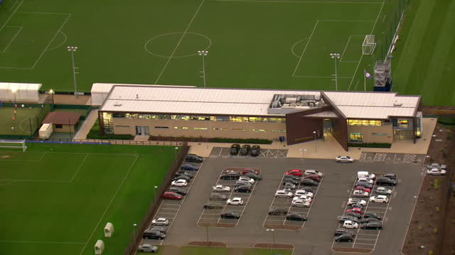 aerial shots of chelsea fc training grounds circling around the main entrance of building on december 17 2015 in cobham england - cobham training ground stock videos and b-roll footage