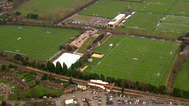 aerial shots of chelsea fc training grounds on december 17 2015 in cobham england - cobham training ground stock videos and b-roll footage