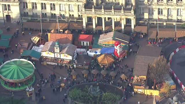 aerial shots of christmas market in birmingham city centre on december 20 2016 in birmingham england - birmingham england stock videos & royalty-free footage
