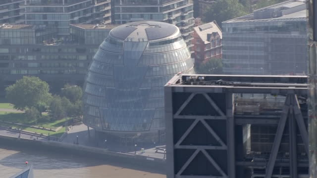 aerial shots of city hall and city of london skyscrapers including the shard on 21 september 2002 in london, united kingdom - central london stock videos & royalty-free footage