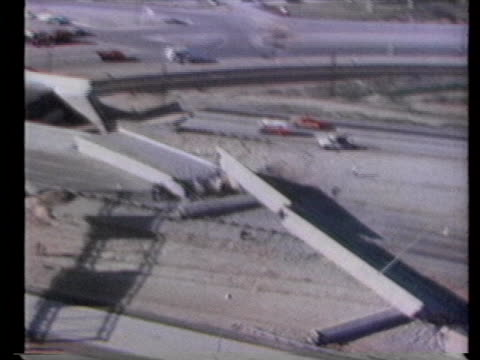 aerial shots of collapsed freeway sections - environment or natural disaster or climate change or earthquake or hurricane or extreme weather or oil spill or volcano or tornado or flooding stock videos & royalty-free footage