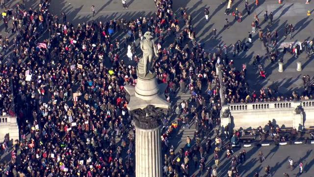 Aerial shots of crowds of women taking part in a Women's March as part of an international campaign on the first full day of Donald Trump's...