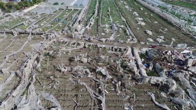 aerial shots of damaged agricultural land in antalya turkey on november 14 2017 at least 25 people were injured when a violent storm struck southern... - mediterranean turkey stock videos and b-roll footage