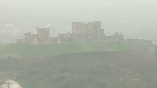 Aerial shots of Dover Castle on March 29 2017 in Dover England