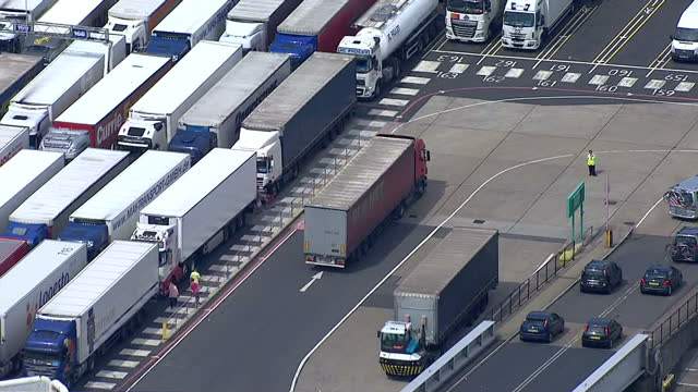 Aerial shots of ferries docked at the port of Dover with cars and lorries driving off a ferry at one of the terminals>> on August 05 2014 in Various...