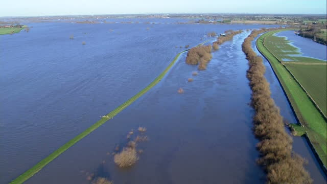 Aerial shots of flooded farmland along the River Ouse and near the village of Cawood >> on December 29 2015 in Cawood United Kingdom