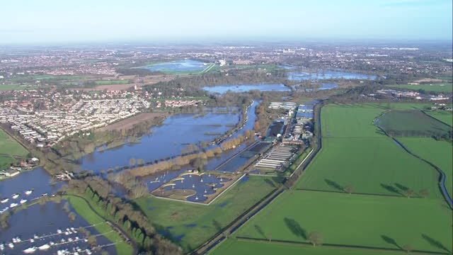 aerial shots of flooding along the swollen river ouse approaching york.>> on december 29, 2015 in york, united kingdom. - river ouse stock videos & royalty-free footage