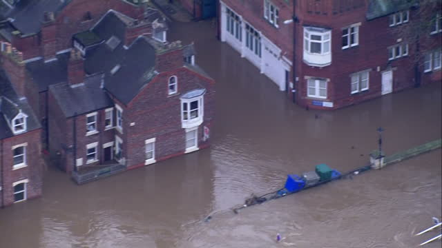 aerial shots of flooding along the swollen river ouse in york. >> on december 28, 2015 in york, united kingdom. - river ouse stock videos & royalty-free footage