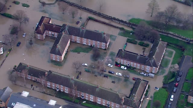 Aerial shots of flooding in York>> on December 28 2015 in York United Kingdom