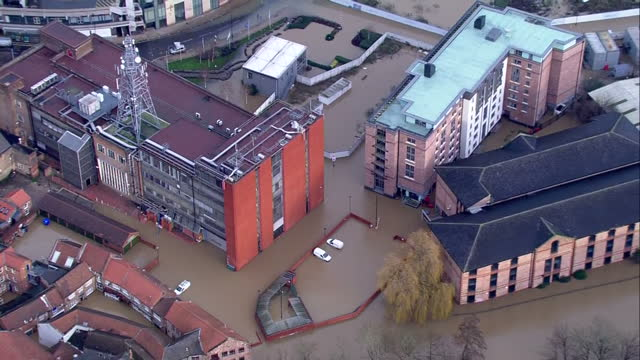 Aerial shots of flooding in York >> on December 28 2015 in York United Kingdom