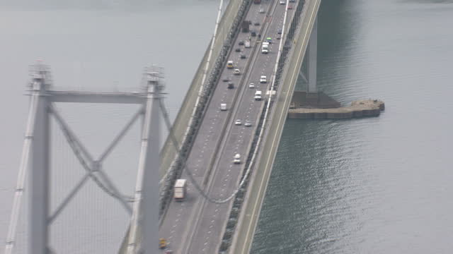 aerial shots of forth road forth rail bridges and the construction of queensferry crossing across the firth of forth on june 6 2014 in edinburgh... - fluss firth of forth stock-videos und b-roll-filmmaterial
