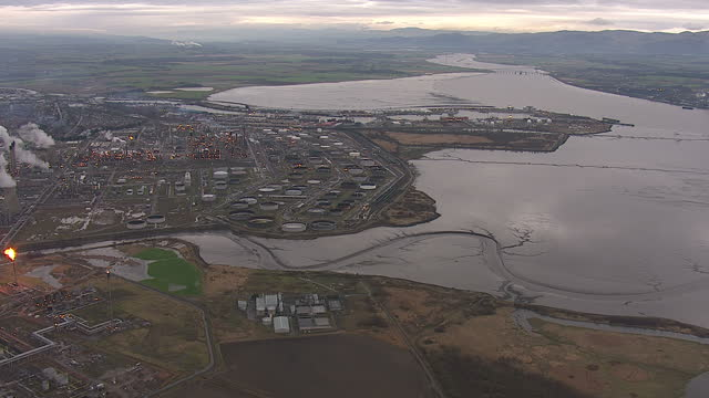 aerial shots of grangemouth oil refinery at sun set on the firth of forth river banks on january 18, 2014 in falkirk, scotland. - 2014 stock videos & royalty-free footage