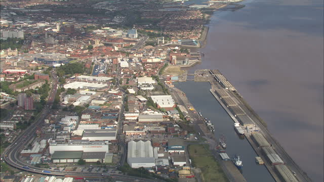 aerial shots of grimsby minster and wide aerial shots of grimsby town harbour on september 9 2009 in yorkshire and the humber england - beliebiger ort stock-videos und b-roll-filmmaterial