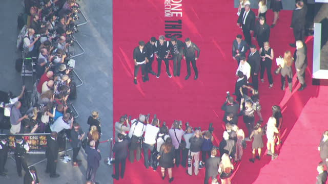 Aerial shots of Harry Styles Niall Horan Louis Tomlinson Zayn Malik Liam Payne of One Direction attending the World Premiere of 'One Direction This...