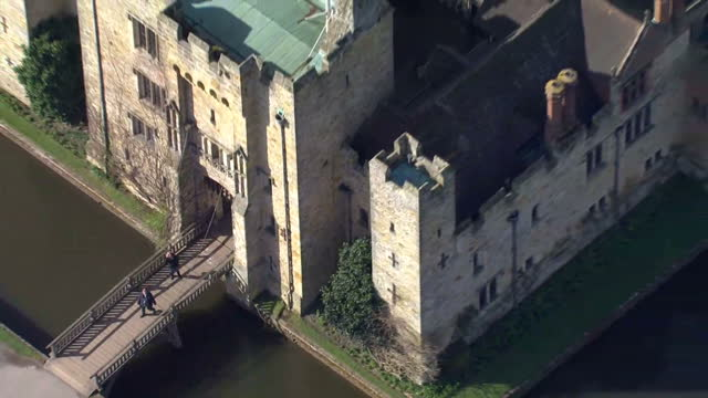 Aerial shots of Hever Castle including flag fluttering in wind shots of maize in gardens on March 03 2016 in Kent England