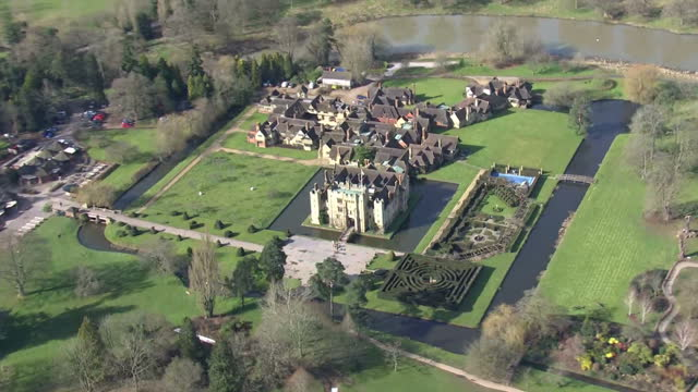aerial shots of hever castle on march 03, 2016 in , kent, england. - national trust video stock e b–roll