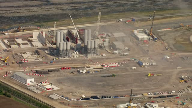 Aerial shots of Hinkley Point C nuclear power station construction site on September 15 2016 in Bridgwater England