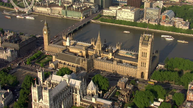 stockvideo's en b-roll-footage met aerial shots of houses of parliament in london houses of parliament aerials on july 17 2013 in london england - house of commons