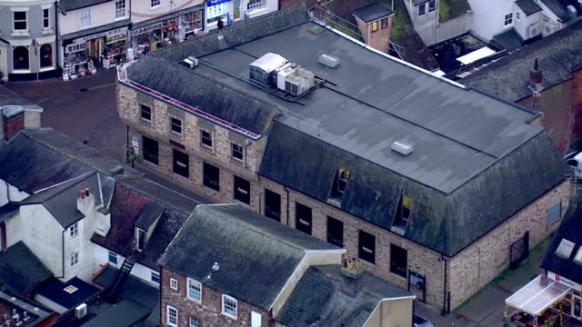 aerial shots of hughes electrical store and pizza mamma mia locations where missing corrie mckeague was known to visit before his disappearance on... - bury st edmunds stock videos & royalty-free footage