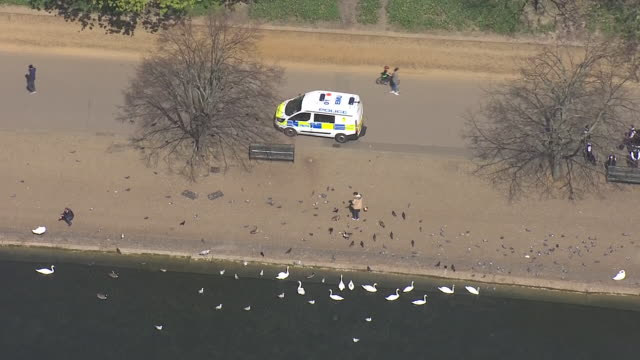 aerial shots of hyde park on a sunny day, very quiet with few people during the coronavirus lockdown on 15 april 2020 in london, united kingdom - sunny video stock e b–roll
