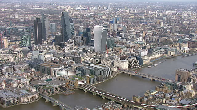 Aerial shots of London the city's iconic skyscrapers including The Shard The Gherkhin The Walkie Talkie The Cheesegrater buildings on March 12 2015...