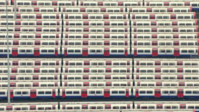 aerial shots of london underground trains parked at depot during strike on january 09 2017 in london united kingdom - streik stock-videos und b-roll-filmmaterial