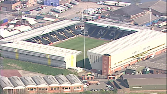 aerial shots of meadow lane stadium home ground of notts county football club ** note this clip has no audio ** on july 21, 2005 in nottingham,... - ゴールを狙う点の映像素材/bロール