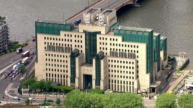 aerial shots of mi6 headquarters building on june 15, 2016 in london, england. - mi6 stock-videos und b-roll-filmmaterial