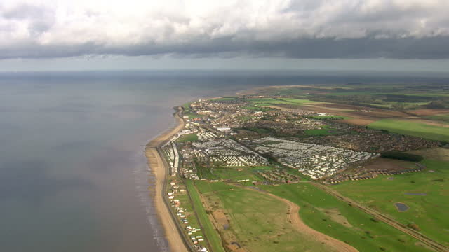 aerial shots of norfolk countryside coast and hunstanton beach on february 04 2016 in hunstanton england - norfolk england stock videos & royalty-free footage