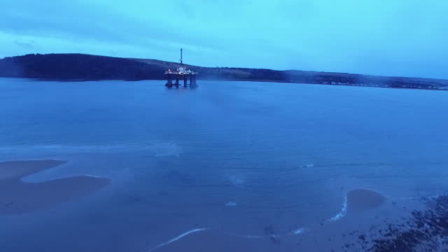 aerial shots of oil rigs in the north sea, off the coast of inverness on january 26, 2016 in scotland. - inverness scotland stock videos & royalty-free footage