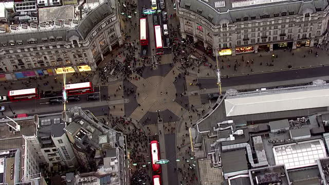 aerial shots of oxford circus and pan along oxford street on december 23 2016 in london england - oxford circus stock videos and b-roll footage