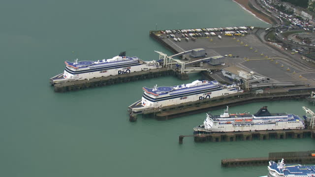 aerial shots of p&o ferries in the port of dover with lorries on board after some freight began to move to the channel after coronavirus restrictions... - harbour stock videos & royalty-free footage