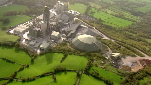 aerial shots of quinn cement, a cement works on the border with ireland in derrylin, county fermanagh, on friday 17th may, 2019. - ulster county stock videos & royalty-free footage