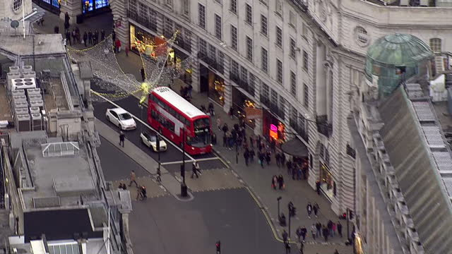 aerial shots of regent streets and oxford circus on december 23 2016 in london england - oxford circus stock videos and b-roll footage