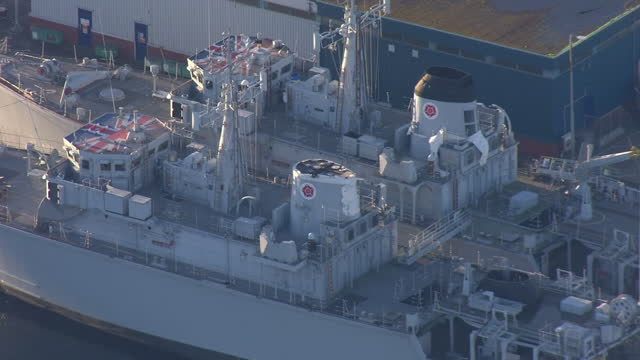 aerial shots of royal navy ships docked at portsmouth naval dockyards on 19 november 2020 in portsmouth, united kingdom - navy stock videos & royalty-free footage